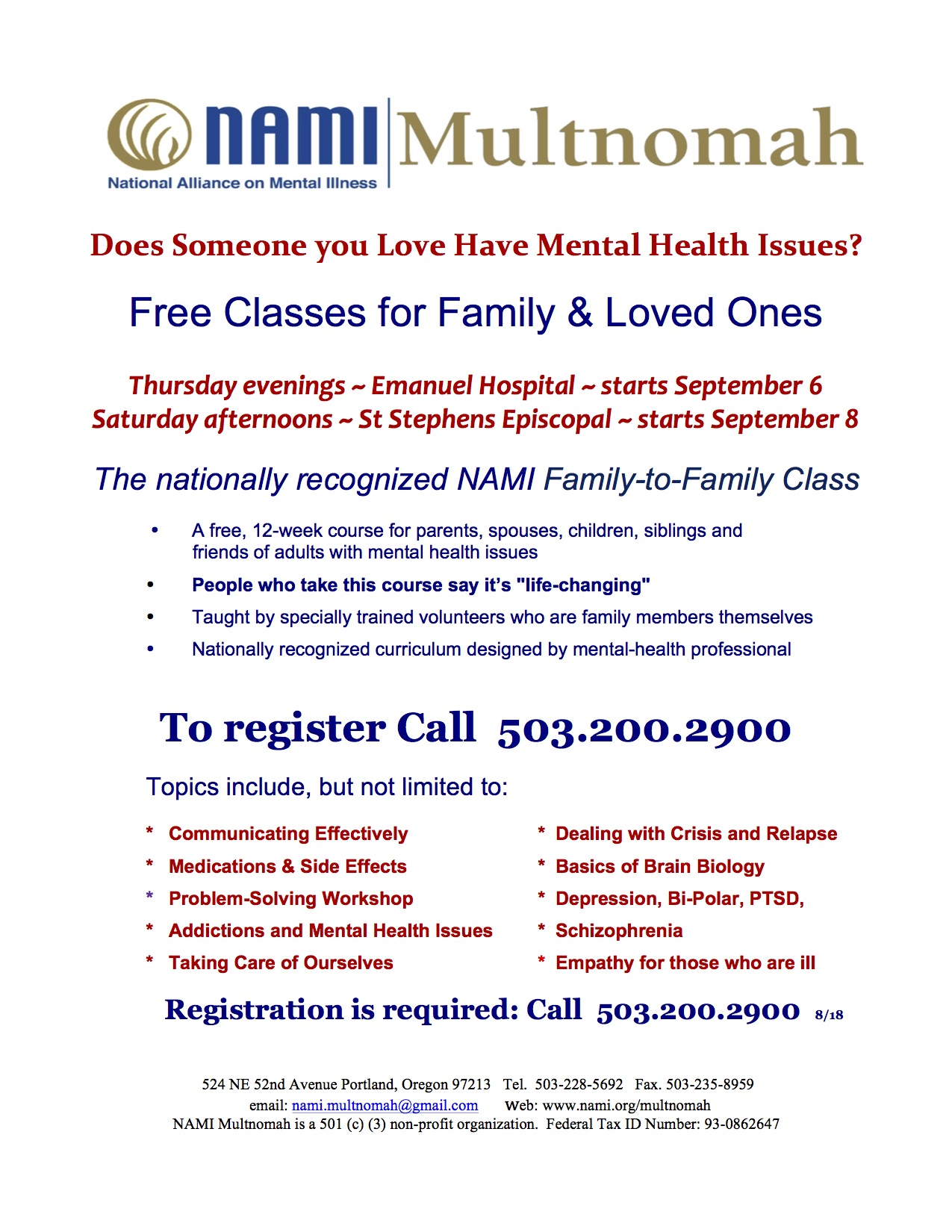 NAMI Family to Family Flyer