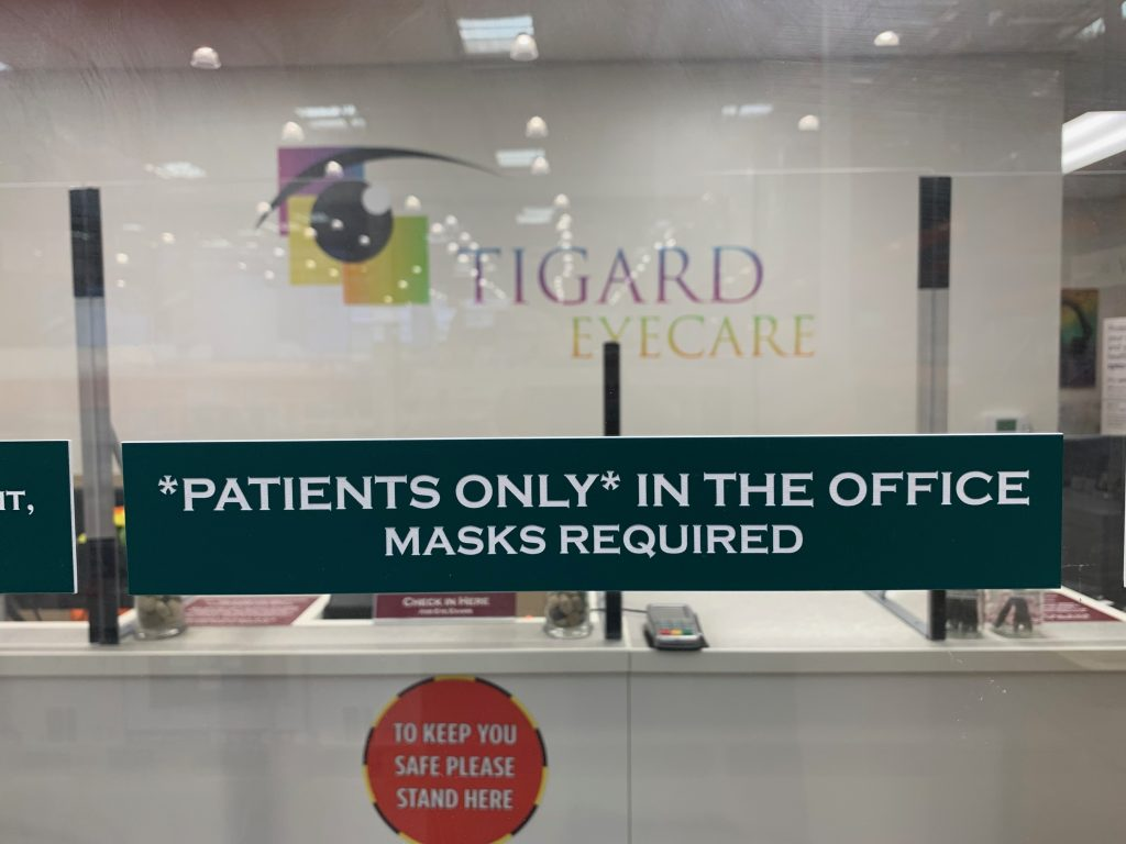Masks required and please, Patients only.